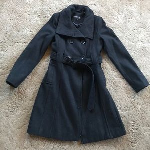 Women's Black Rivet Charcoal Pea Coat, Long, XS
